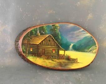 Wood Slice picture, log cabin decor, rustic, decoupage, USA