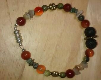 Aromatherapy Bracelet. Beaded Bracelet. Multi Stone Bracelet. Magnetic Clasp
