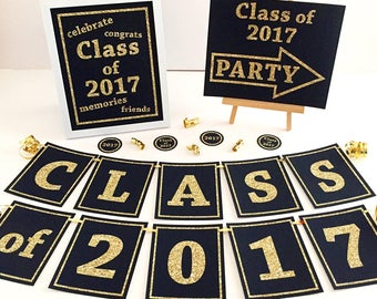 Graduation Class of 2017 DIY Printable Decoration package.  Banner, party circles, and 8x10 art print.