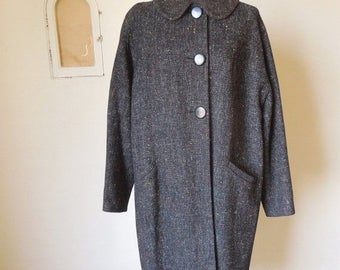 Vintage 50's Coat, Black Tweed Flecked with Red and Yellow, Rockabilly or Mad Men, Winter Coat,  Large to Xl