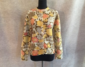 Vintage 60s Cardigan Sweater, Wool Cardigan Sweater, Yellow and Cream Floral Knit, Medium to Large, Bust 40
