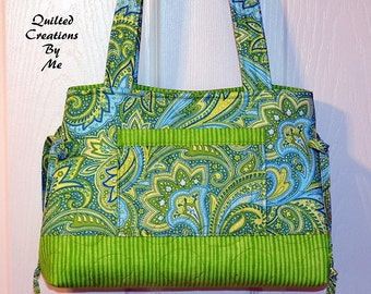 Quilted Handbag, Purse, Bag, Tote Bag, Bow  Bag The Adalynn Bag CUSTOM MADE by Quilted Creations By Me