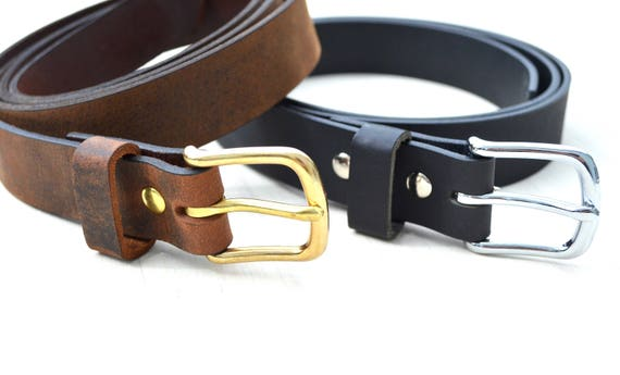 Handcrafted Leather Men's or Women's Belt - Choose from multiple leather and hardware options. Product of the USA