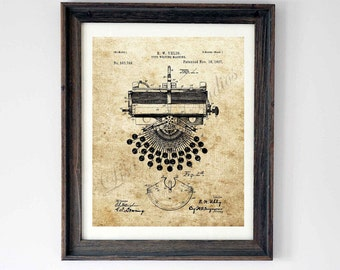 Digital download, Typewriter Patent drawing, wall art print