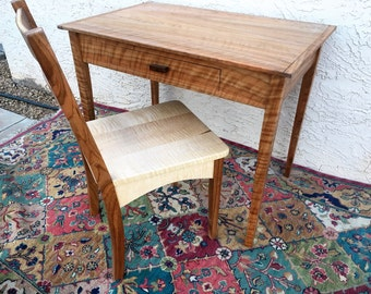 Exotic Curly Cherry Writing Desk With Matching Curly Maple Chair, READY TO SHIP