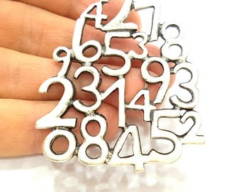 Silver Numbers Pendant Antique Silver Plated Pendant (71x51mm) G7545