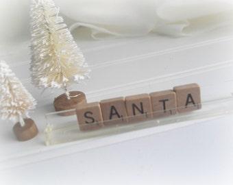 Santa Sign Vintage Scrabble Santa Letters Farmhouse Chic Rustic Christmas