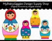 ON SALE Russian Dolls 1 Clip Art Digital Graphics Scrapbook Card Making Supply INSTANT Download