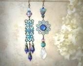 Blossom Time Mismatch Earrings Spring Summer Lavender Aqua Blue Asymmetrical Earrings Garden Party Boho Flower Earrings Festival Jewelry