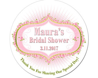 Personalized Bridal Shower Labels Cartouche Frame with Roses Round Glossy Designer Stickers