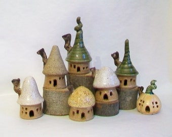 Garden Fairy House Village -  Set of 7 Houses - Handmade on Potters Wheel - Ready to Ship Now