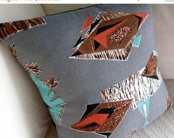 "FAB SALE Retro Barkcloth Throw Pillow Cover -- Rat Pack Ski Lodge -  Aqua Coral Brown on Grey - For 18"" x 18"" insert"