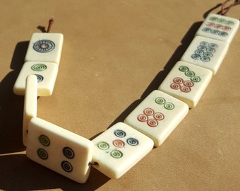 Mah Jong Beads - Strand of 9 beads - Carved Game Piece Beads