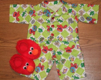 "NEW For Cabbage Patch Boys 16"" Doll Clothes Elmo Pajamas With Red Elmo Like Slippers"
