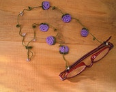 crochet eyeglass chain, purple rose