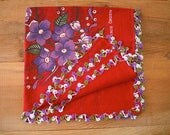 red cotton turkish scarf, crochet trim