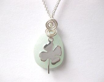 SS clover necklace   Sea glass jewelry shamrock   jewelry irish jewelry