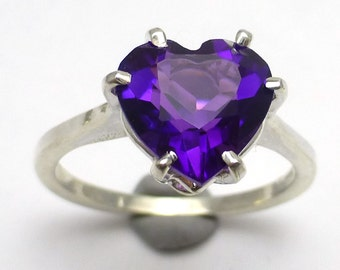 Amethyst Heart Ring Handmade Sterling Silver Size 6.75 10mm Natural PurpleFebruary Birthstone Valentines Day Gift