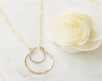 Double Nested Hoop Necklace - 14k Gold Filled & Sterling Silver