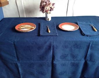 Vintage Damask tablecloth & Serviettes, Navy Blue dyed Cotton / French Kitchen Linen , Vintage Home Decor