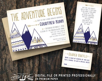 The Adventure Begins Baby Shower Invitation Adventurer Tribal Aztec Mountains Outdoors Navy Gold Glitter  Woodland Printed or Printable File