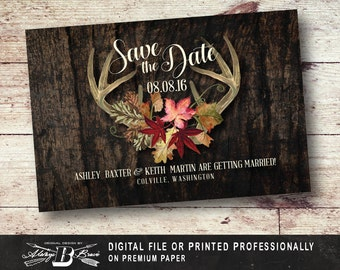 Rustic Save the Date Postcard | Printed or Printable Digital File DIY | Deer Antler Save the Date Postcard | Fall Leaves Save the Date