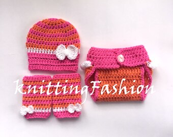 Newborn Baby Girl Outfit_ Baby Girl Stripe Hat , Leg Warmers and Diaper Cover_Newborn Girl Crochet Outfit _Newborn Baby Photo Props