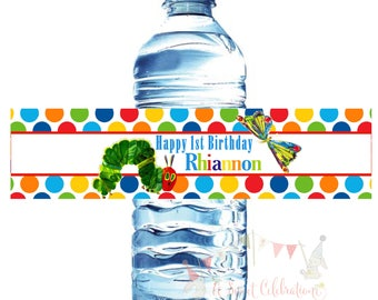 Very Hungry Caterpillar (20) water botttle label 1st birthday party decorations, , Eric Carle