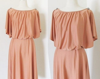 40% OFF SALE Vintage 1970's Retro Day Dress / Copper Brown Casual Polyester Hippie Sundress