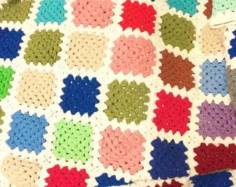 small vintage multi color lap crochet afghan
