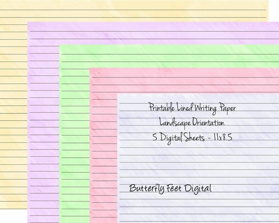 Printable Art Journal Pages Lined Paper Landscape View