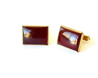 Antique Cuff Links With Red Stones c.1960s