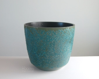 Vintage Modern Gainey Ceramics Style Volcanic Bubbled Blue Green Planter Pot