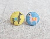 Llamas Fabric Button Earrings