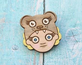 Girl and Bear Hand Painted Lasercut Wood Pin