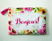 French quote, cosmetic bag, makeup bag, pencil case, bridesmaid gift, zipper pouch, travel pouch, ipad case, makeup organizer, messenger bag