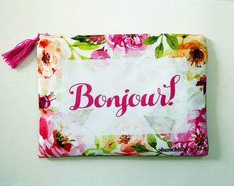 Bonjour cosmetic bag, cosmetic bag, makeup bag, pencil bag, bridesmaid gift