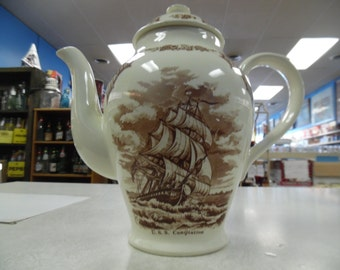 Fair winds coffee pot, Fair Winds pot, vintage Fair Winds China, Meakin China, ships China