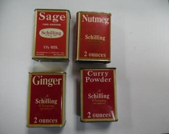 Schilling spice tins, sage tin, curry powder tin, ginger tin, nutmeg tin, vintage tins,  vintage spice tin, old spice tin