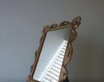 Syrocco Wood Standing Framed Mirror, Gold Ribbon, girls Room