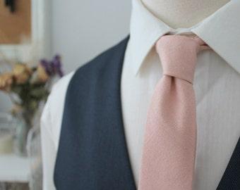 Textured Blush Pink Silk Linen Neck Tie