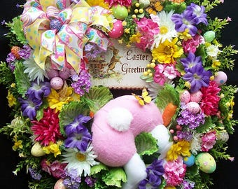 Reserved Layaway For Cindy Lg Easter Spring Wreath  BUNNY In The CABBAGE PATCH