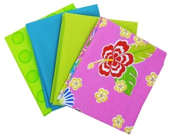 Bundle of 4 with Sanibel Hot Pink Tropical Floral and Coordinating Moda Solid and Dotties, by Moda
