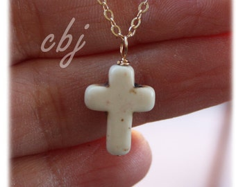 Cross Necklace, Gold Filled Cross Necklace, Cross pendant necklace, White Cross Necklace, Confirmation Necklace