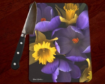 Crocus and Daffodils Photo Tempered Glass Cutting Board, Hot Pad, Trivet, Cheese Board, Floral Serving Tray, Purple Yellow, spring flowers,