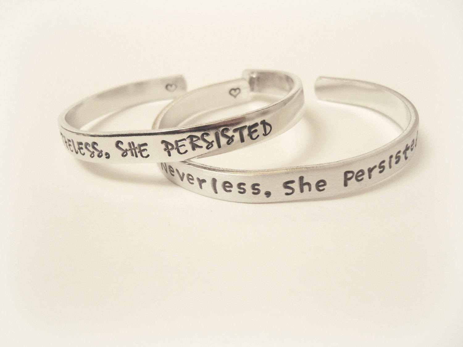 Nevertheless, she persisted hand stamped bracelet personalized one of a kind custom jewelry