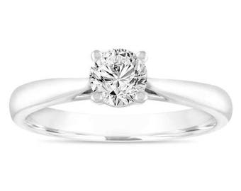 ON SALE 0.50 Carat GIA Diamond Solitaire Engagement Ring, Wedding Ring 14K White Gold Certified Handmade