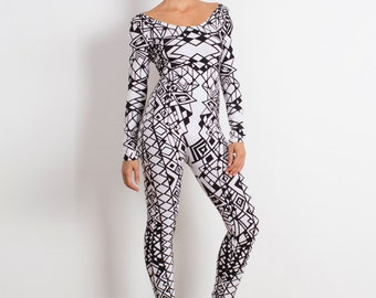 Black and White Catsuit - Jumpsuit - One Piece - Long Sleeve Leotard - Catsuit