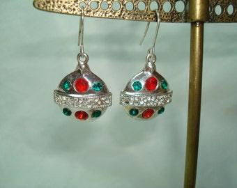 1989 Jeweled Christmas Ornament Earrings.
