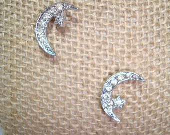 1980s Pair of Celestial Crescent Moon and Stars Pins.